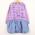 【在庫処分セール50%OFF】LaLa Dress (ララドレス) リボン柄バルーンワンピース パープル 100cm 110cm