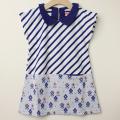 【新春セール】LaLa Dress (ララドレス) 丸襟ジャガードワンピース ブルーボーダー 110cm 120cm    【送料無料】