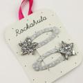 Rockahula KIDS(ロカフラキッズ) GlitterStarClips グリッタースターヘアクリップ シルバー Free     【おまかせ配送で送料お得】◆