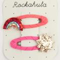 Rockahula KIDS(ロカフラキッズ) GlitterRainbowSunClips グリッターレインボーサンクリップ コーラルゴールド Free     【おまかせ配送で送料お得】◆