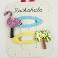 Rockahula KIDS(ロカフラキッズ) GlitterFlamingoClips グリッターフラミンゴクリップ ピンクグリーン Free     【おまかせ配送で送料お得】◆