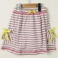 【在庫処分セール70%OFF】EVA&OLi(エヴァアンドオリ)  ストライプリボンスカート ピンク×白 Girl stripes 4才 6才    【おまかせ配送で送料お得】