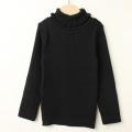 【セール15%OFF】studio momo(スタジオモモ) フリルタートル長袖シャツ ブラック 100cm 110cm 120cm