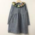 【セール30%OFF】studio momo(スタジオモモ) 花柄襟長袖ワンピース グレー 110cm 120cm