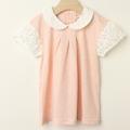 【セール50%OFF】studio momo(スタジオモモ) レース袖襟付きTシャツ ピンク 110cm 120cm    【おまかせ配送で送料お得】