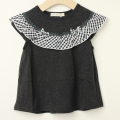 【セール30%OFF】studio momo(スタジオモモ) チェックフリル付きTシャツ ブラック 110cm 120cm    【おまかせ配送で送料お得】