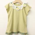 【セール10%OFF】studio momo(スタジオモモ) バラモチーフ付き丸レース襟半袖Tシャツ イエロー 110cm 120cm  130cm