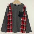 【セール30%OFF】TAPPET(タペット) チェック切替長袖シャツ チャコール 110cm 120cm    【おまかせ配送で送料お得】