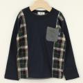 【セール30%OFF】TAPPET(タペット) チェック切替長袖シャツ ネイビー 110cm 120cm    【おまかせ配送で送料お得】