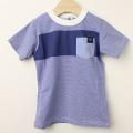 【セール20%OFF】TAPPET(タペット) 胸ポケットボーダーTシャツ ブルー 110cm 120cm    【おまかせ配送で送料お得】