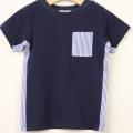 【セール20%OFF】TAPPET(タペット) 脇ストライプ切替ポケットTシャツ ネイビー 90cm 100cm    【おまかせ配送で送料お得】
