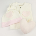 【新入荷】WHIP CREAM(ホイップクリーム) 女の子用無地出産祝い3点セット ピンク 50cm‐60cm     【送料無料】◆