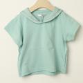 【セール30%OFF】mimi poupons.(ミミプポン) セーラーカラーTシャツ ミント 4才 6才    【おまかせ配送で送料お得】