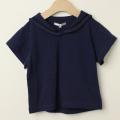 【セール30%OFF】mimi poupons.(ミミプポン) セーラーカラーTシャツ ネイビー 4才 6才    【おまかせ配送で送料お得】