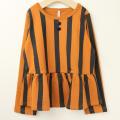 【セール30%OFF】maarook(マルーク) ストレッチインレイストライプ裾フレアトレーナー ブラウン 120cm