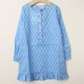 【セール30%OFF】Rachel Riley (レイチェルライリー) 裾フリルシャツドレス ブルー 4才 5才    【送料無料】