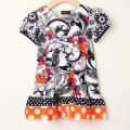 【在庫処分セール60%OFF】(春夏)ZAZA couture(ザザクチュール) 半袖ワンピ 黒×オレンジ 104cm(4才)