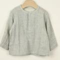 【セール30%OFF】NAOMI ITO(ナオミイトウ) ヘンリーネックシャツ 杢グレー 80cm 90cm    【おまかせ配送で送料お得】