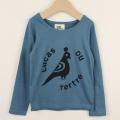 【在庫処分セール60%OFF】le petit Lucas(ル・プチルカ) T-shirt LDT BIRD 鳥柄長袖Tシャツ Blue 水色 4才 6才 【おまかせ配送で送料お得】