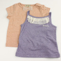 【セール25%OFF】Bizzu(ビズー)2枚Tシャツ花柄チュール巾着セット オレンジ 80cm 90cm 100cm 110cm 【おまかせ配送で送料お得】