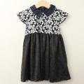 【セール15%OFF】Bizzu(ビズー) フラワーレース&ラメドットの衿付きドレス ネイビー 110cm 120cm