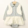 【セール30%OFF】Bizzu(ビズー) レイヤード風衿付きスカートロンパース グレー 80cm