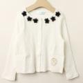 【新春セール】Bizzu(ビズー) リボン付きカーディガン ホワイト 110cm 120cm     【おまかせ配送で送料お得】