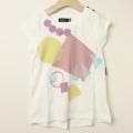 【セール15%OFF】Chien Chien(シアンシアン) パステルプリントAラインロングTシャツ パープル 110cm 120cm    【おまかせ配送で送料お得】