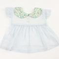 Leapepe(レアペペ) PASTEL FLOWER 衿花柄エプロン ブルー F(70cm‐80cm) ◆