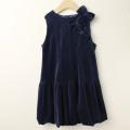 【セール15%OFF】SHAMROCLOTHING(シャムロックロージング) リボン付きベロアジャンパースカート ネイビー 120cm     【送料無料】