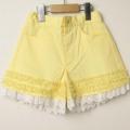 【セール30%OFF】SHAMROCLOTHING(シャムロックロージング) 裾レースショートパンツ イエロー 120cm