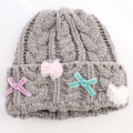 panpantutu(パンパンチュチュ) デコレーションニット帽 グレー S(42-47cm) M(48-52cm)    【おまかせ配送で送料お得】◆