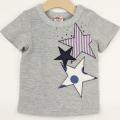 【セール20%OFF】A-MACH(マッハ) 星アップリケ半袖Tシャツ グレー 90cm 100cm 110cm   【おまかせ配送で送料お得】