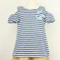【セール10%OFF】Lily ivory(リリイアイボリー) 杢ボーダー半袖Tシャツ ブルー 110cm 120cm 130cm