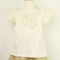 【セール10%OFF】Lily ivory(リリイアイボリー) スラブ天竺チュール半袖Tシャツ アイボリー 110cm 120cm 130cm