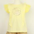 【セール10%OFF】Lily ivory(リリイアイボリー) スラブ天竺チュール半袖Tシャツ イエロー 110cm 120cm 130cm