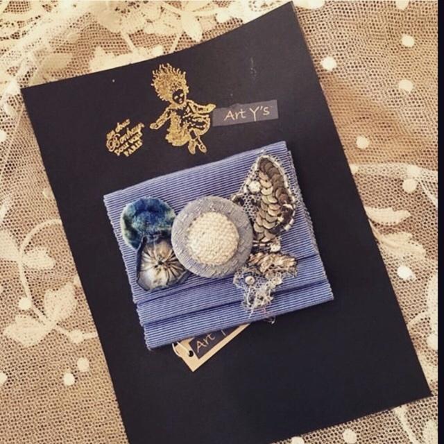 Art Y's ブローチ 青のグログランリボン