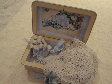 シルク風景画のある飾箱