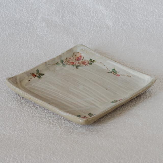 角皿 薔薇2