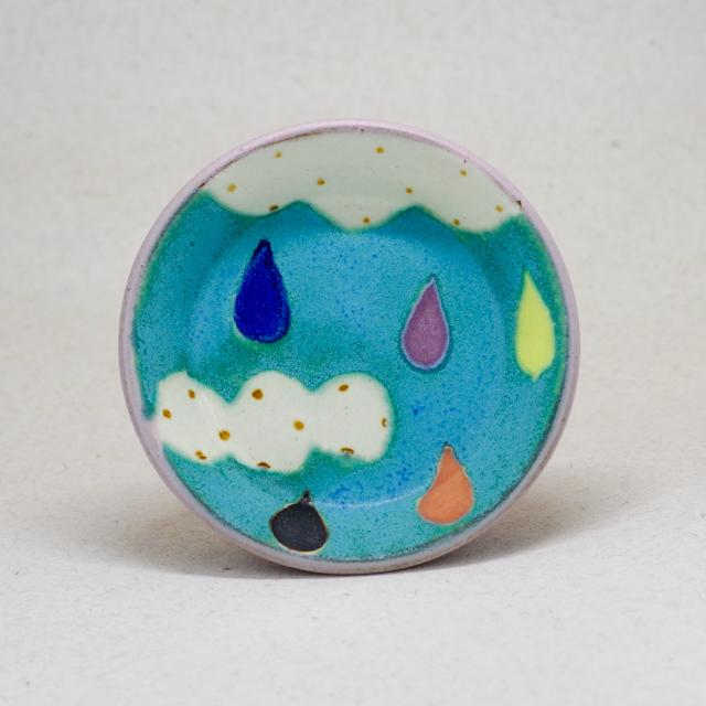 小林美風  空と雨つぶ 丸皿