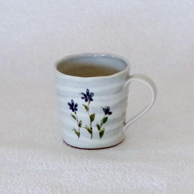 ミニマグカップ 小さな花 ブルー