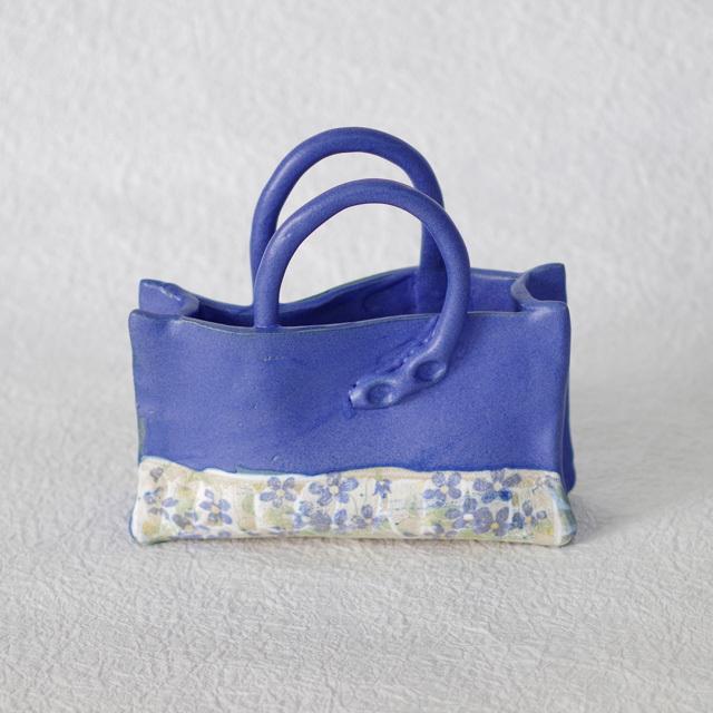 花器 バック型 ブルー