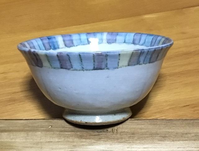 火音陶房 錦文 飯碗 ブルー
