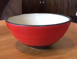 笠間焼 沖 誠  飯碗 赤 小