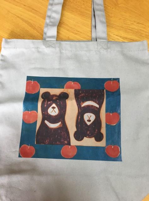 ミフウ トートバック長 クマとリンゴ