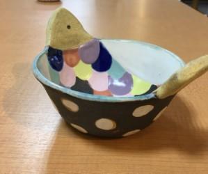 小林美風 魚楕円鉢