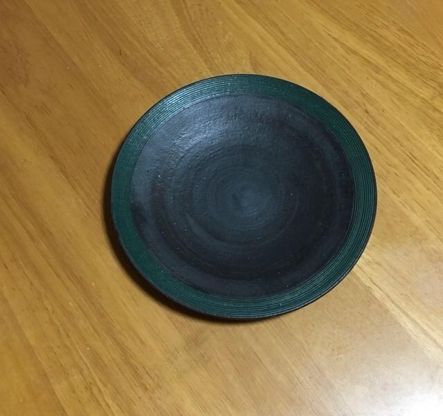 沖 誠 7寸リム皿 グリーン
