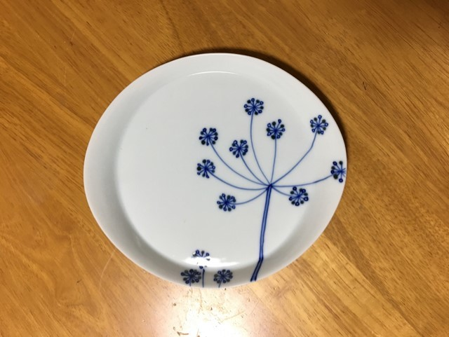 加藤真雪 青いレースフラワー オーバル皿