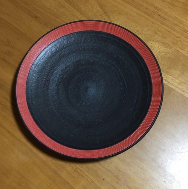 沖 誠 8寸リム皿 赤