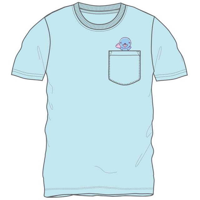 ぼのちゃん ポケット付半袖Tシャツ(サックス)